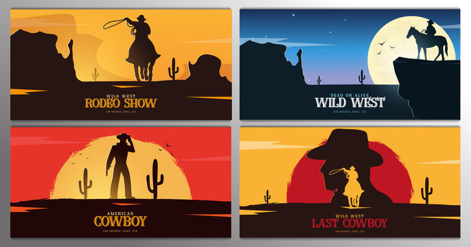 Set of Cowboy banners. Rodeo. Wild West banner. Texas. Vector illustration.