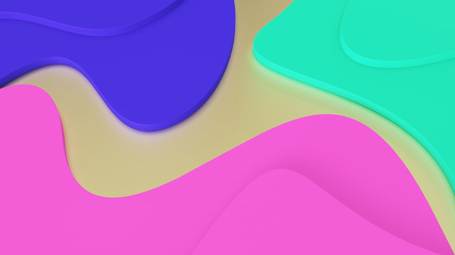 background Abstract geometric waves of trendy colors. green, pink and blue steps. psychedelic reality and parallel worlds. 3d illustration