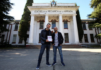 "Juan Carra and Inaki Echeverria, authors of the graphic novel ""ESMA"", pose for a picture at the Naval Mechanics School, known as ESMA, in Buenos Aires"
