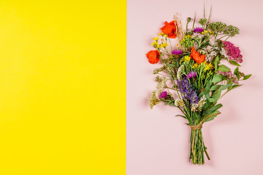 Wild flower bouquet on pink and yellow background
