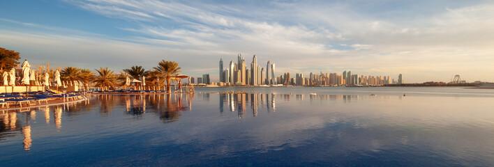 Printed roller blinds Dubai Panorama of Dubai Marina Skyline at sunset United Arab Emirates