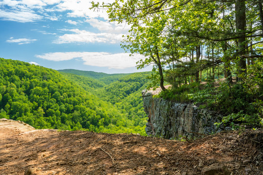 Whitaker Point Landscape view from rock cliff hiking trail, Ozark mountains, nwa northwest arkansas