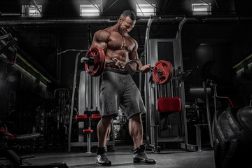 Brutal strong athletic men pumping up muscles and train in gym workout bodybuilding on diet concept background - muscular bodybuilder handsome men doing exercises in gym naked torso