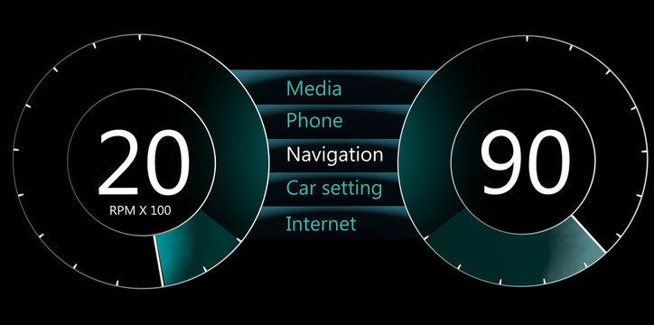 concept of a modern car dashboard.3d illustration