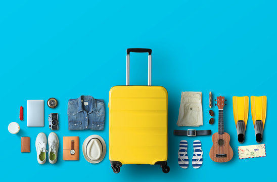 Yellow bag on the blue background