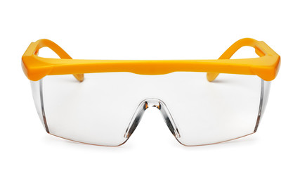 Front view of yellow plastic safety goggles Wall mural