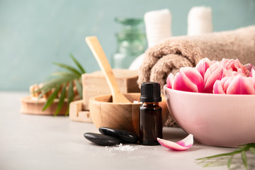 Accessories for spa procedures. Natural ingredients and flowers