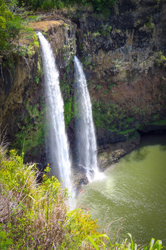 Wailua Falls, twin waterfalls in a nice natural setting, Kauai, Hawaii, USA