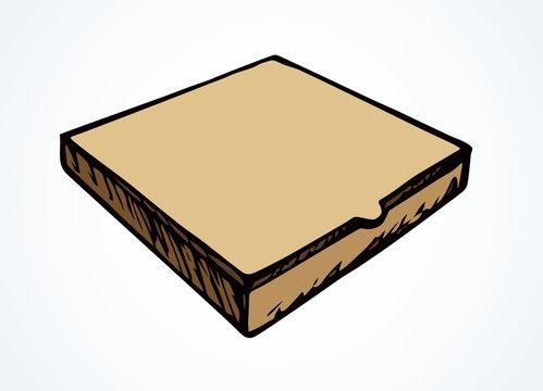 Cardboard pizza packaging. Vector drawing