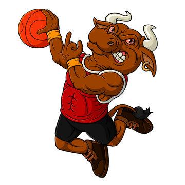 Cartoon bull basketball mascot showing middle finger-hand drawn art
