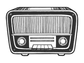 Old vintage radio receiver device sketch engraving vector illustration. Scratch board style imitation. Black and white hand drawn image.