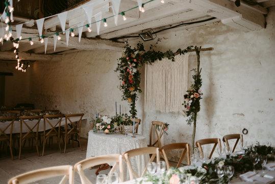 Romantic bohemian handmade macrame decor for wedding reception
