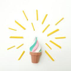 Origami paper colored ice cream