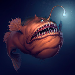 Angler fish on background of dark blue water realistic illustration. Scary deep-sea fish predator In the depths of the ocean.