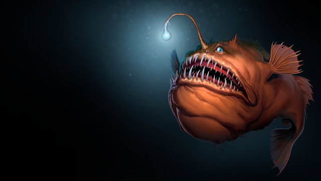 Angler fish on background of dark blue water realistic illustration art. Scary deep-sea fish predator In the depths of the ocean. Place for text.