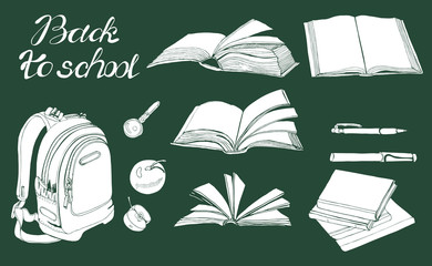 Set of  hand drawn ink and inverted  sketch with books, school items and lettering. White elements on dark green background.
