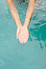 top view. woman hands in water