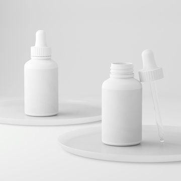 Clean rose modern minimal design. Cosmetic dropper bottle for liquid, cream, gel, lotion. Beauty product package, blank template of white plastic jar. 3d illustration.