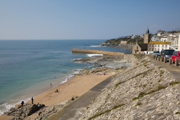 Fototapete - Porthleven beach Cornwall blue sky and sea England uk