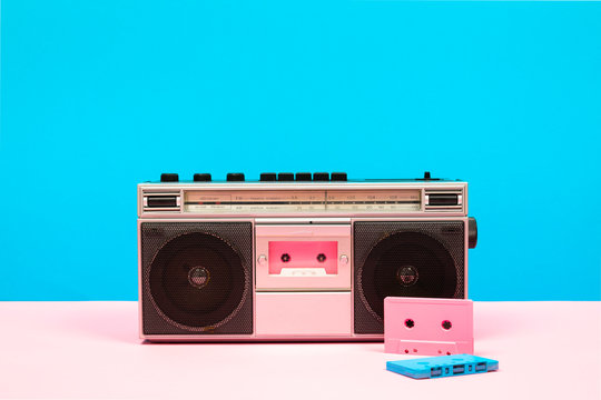 Boom box against colorful backround