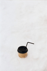 Cup take away in the snow