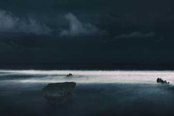 Long Exposure Night Shot of Breaking Ocean Waves