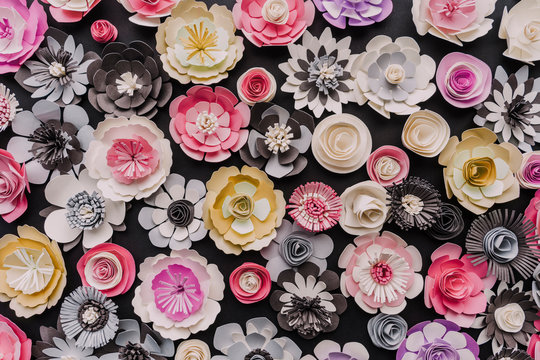 Colorful variety pf paper flowers
