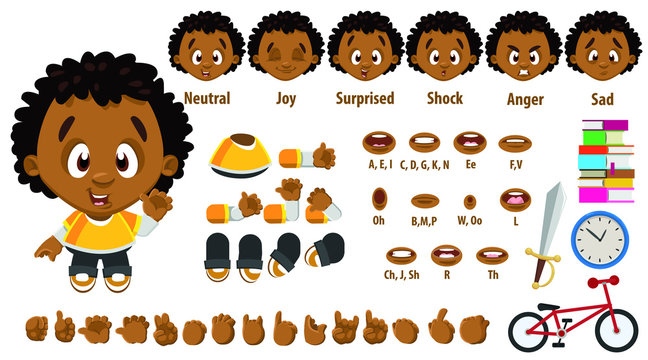Cartoon afro-american boy constructor for animation. Parts of body, set of poses.