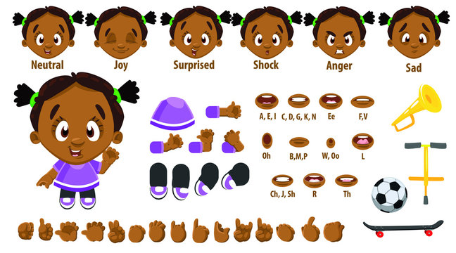Cartoon afro-american girl constructor for animation. Parts of body, set of poses.