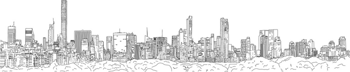 Hand drawn illustration. Panoramic view of the New York City skyline from the vantage point of the Upper East Side, with all the famous towers.