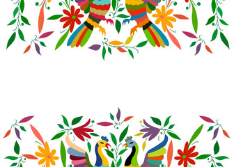 Mexican Traditional Textile Embroidery Style from Tenango City, Hidalgo, México. Copy Space Floral Composition with Birds, Peacock, colorful seamless frame composition isolated or white background