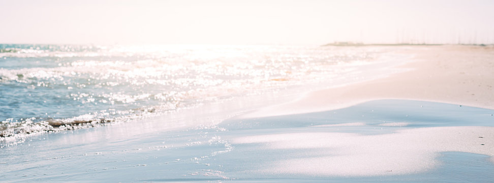 Summer sand beach and seashore waves background