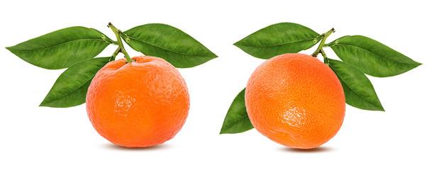 Fototapete - Tangerine mandarin fruit isolated on white background