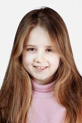 Schoolgirl with long blond hair portrait