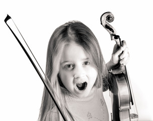 Cute little girl with violin, music and educational concept, isolated on white