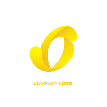 O letter yellow logo design, abstract swirl gradient sharp. Futuristic dynamic emblem. App template icon. Corporate brand identity concept