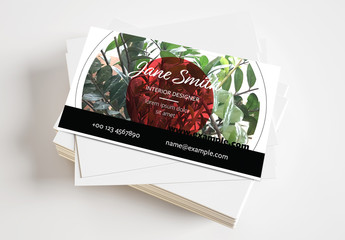 Business Card with Circle Graphics and Photo Mask Layout