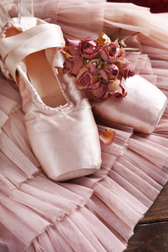 ballet pointe shoes and tulle dress