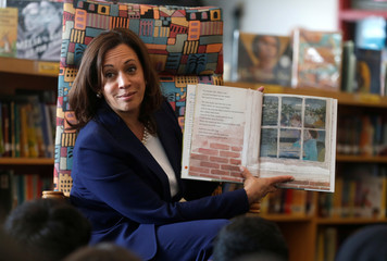 U.S. Senator Kamala Harris reads a book about kindness to students at Miller Elementary School in Dearborn,