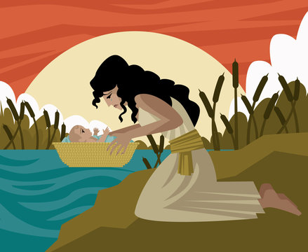 baby moses in a basket and mother in the river old testament tale