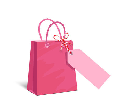 Pink paper shopping bag with blank paper advertising sign Vector illustration isolated on white background