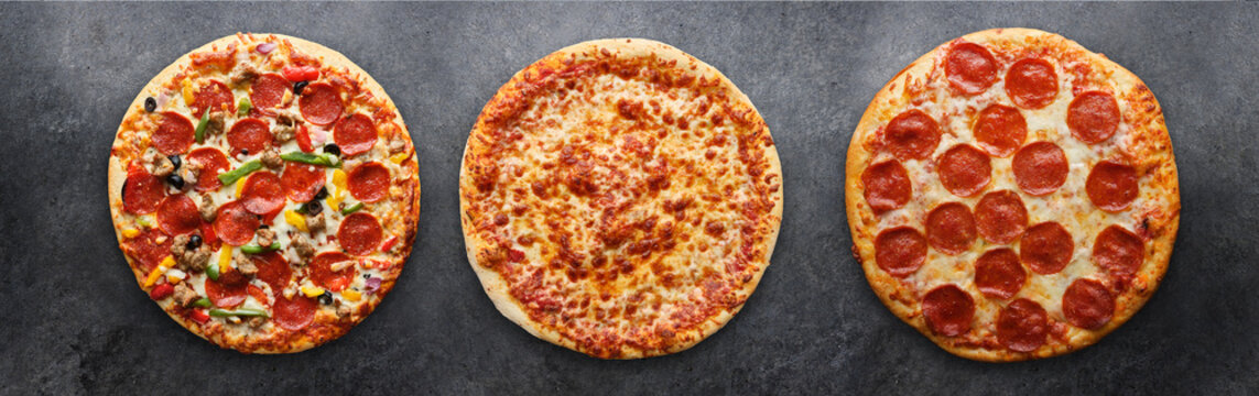 three different pizzas in panoramic composition