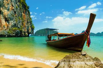 Beautiful Thai longtailboat at Phang Nga Bay in Thailand, Asia
