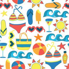 Summer Sunbathing Beach items flat seamless vector background