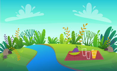 Wall Murals Green coral green grass lawn with river at park or forest trees and bushes flowers scenery background , nature lawn ecology peace vector illustration of forest nature happy funny cartoon style landscape