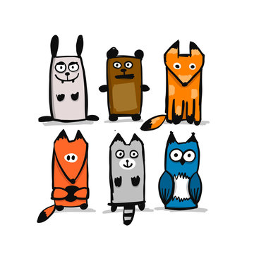 Forest animal character collection, sketch for your design