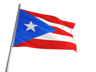 Puerto Rico National Flag waving in the wind, isolated white background. High Definition