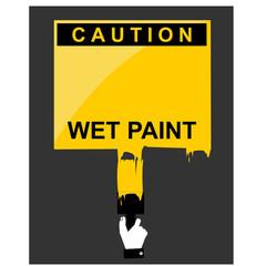 caution, wet paint, sign