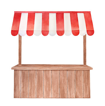 Watercolor illustration of wooden stall with red and white striped canopy, front view. Cute outdoor store symbol. Handdrawn water color graphic drawing, cutout clipart element for design, card, print.