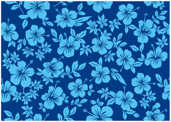 Seamless hibiscus illustration pattern, blue,background image of southern country and hawaii and tropical image | apparel, textile